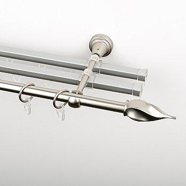 """Карниз металлический стыкованный с U-шинами и наконечниками """"Витро"""", 3-рядный, хром матовый, гладкая труба, ø 16 мм"""