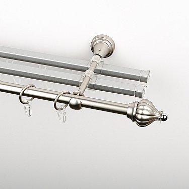 """Карниз металлический стыкованный с U-шинами и наконечниками """"Тай"""", 3-рядный, хром матовый, гладкая труба, ø 16 мм"""