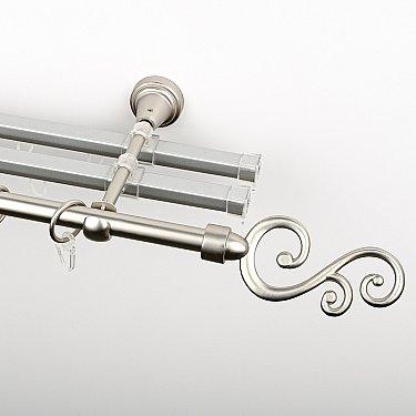 """Карниз металлический стыкованный с U-шинами и наконечниками """"Виола"""", 3-рядный, хром матовый, гладкая труба, ø 16 мм"""
