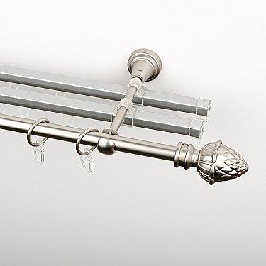 """Карниз металлический стыкованный с U-шинами и наконечниками """"Агра"""", 3-рядный, хром матовый, гладкая труба, ø 16 мм"""