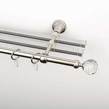 """Карниз металлический стыкованный с U-шинами и наконечниками """"Леда"""", 3-рядный, хром матовый, гладкая труба, ø 16 мм"""