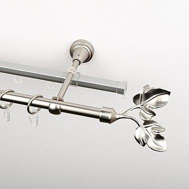 """Карниз металлический стыкованный c наконечниками """"Тоскана"""", 2-рядный, хром матовый, гладкая труба, ø 16 мм"""