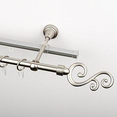 """Карниз металлический стыкованный c наконечниками """"Виола"""", 2-рядный, хром матовый, гладкая труба, ø 16 мм"""
