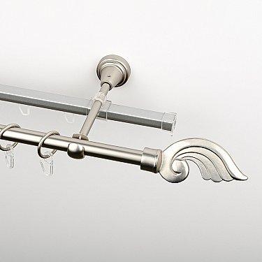 """Карниз металлический стыкованный c наконечниками """"Генуя"""", 2-рядный, хром матовый, гладкая труба, ø 16 мм"""