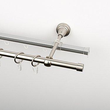 """Карниз металлический стыкованный c наконечниками """"Корсо"""", 2-рядный, хром матовый, гладкая труба, ø 16 мм"""