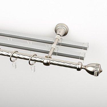 """Карниз металлический стыкованный с U-шинами и наконечниками """"Верона"""", 3-рядный, хром матовый, крученая труба, ø 16 мм"""