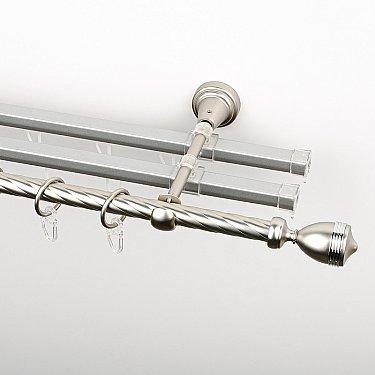 """Карниз металлический стыкованный с U-шинами и наконечниками """"Ремус"""", 3-рядный, хром матовый, крученая труба, ø 16 мм"""