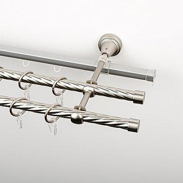 """Карниз металлический стыкованный c наконечниками """"Корсо"""", 3-рядный, хром матовый, крученая труба, ø 16 мм"""