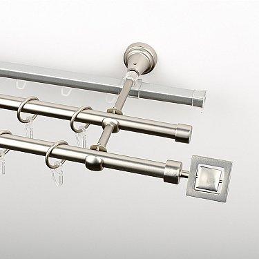 """Карниз металлический стыкованный c наконечниками """"Гарда"""", 3-рядный, хром матовый, гладкая труба, ø 16 мм"""