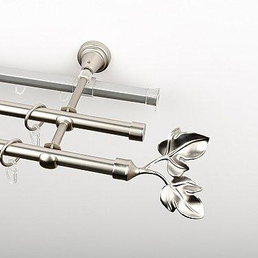 """Карниз металлический стыкованный c наконечниками """"Тоскана"""", 3-рядный, хром матовый, гладкая труба, ø 16 мм"""
