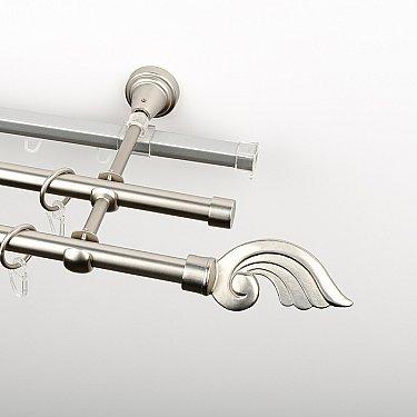 """Карниз металлический стыкованный c наконечниками """"Генуя"""", 3-рядный, хром матовый, гладкая труба, ø 16 мм"""