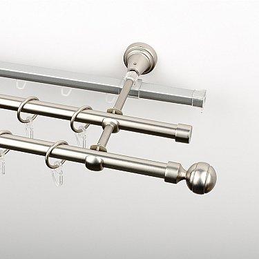 """Карниз металлический стыкованный c наконечниками """"Каро"""", 3-рядный, хром матовый, гладкая труба, ø 16 мм"""