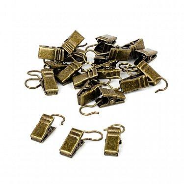 Комплект зажимов для металлических колец, золото антик