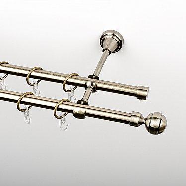 """Карниз металлический стыкованный, 2-рядный """"Каро"""", золото антик, гладкая труба, ø 16 мм"""
