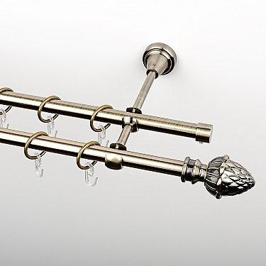 """Карниз металлический стыкованный, 2-рядный """"Агра"""", золото антик, гладкая труба, ø 16 мм"""