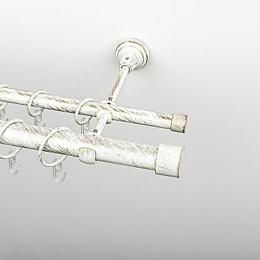 """Карниз металлический стыкованный, 2-рядный """"Кофу"""", белое золото, гладкая труба, ø 25 мм"""