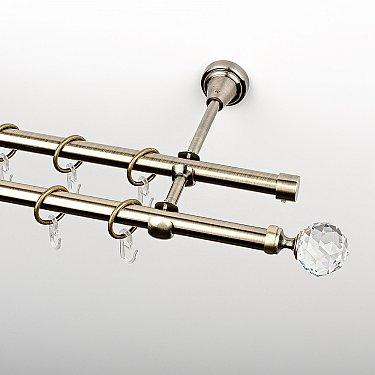 """Карниз металлический стыкованный, 2-рядный """"Леда"""", золото антик, гладкая труба, ø 16 мм"""
