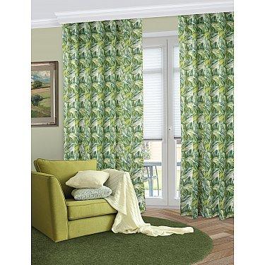 Шторы Gura, зеленый в листья (fango), 180*270 см