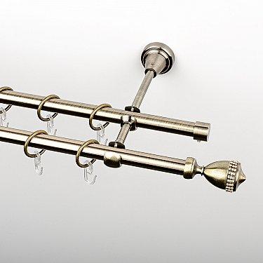 """Карниз металлический стыкованный, 2-рядный """"Верона"""", золото антик, гладкая труба, ø 16 мм"""