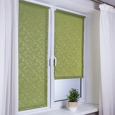"""Рулонная штора """"Сантайм-жаккард Версаль"""", зеленый"""