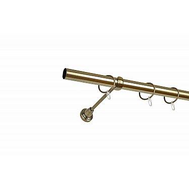 Карниз металлический 1-рядный золото антик, гладкая труба, 160 см, ø25 мм