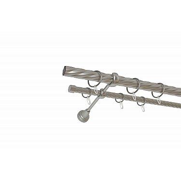 Карниз металлический 2-рядный хром матовый, крученая труба, ø25 мм