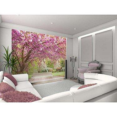 """Фотофреска на стену штукатурка """"Вишня в саду"""", 260*270 см"""