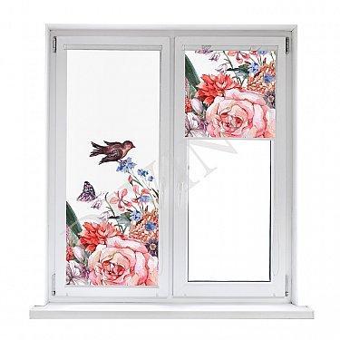 """Рулонная штора лен """"Птицы на цветах"""""""