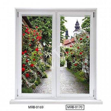 "Рулонная штора лен ""Аллея роз"", 68 см-A"