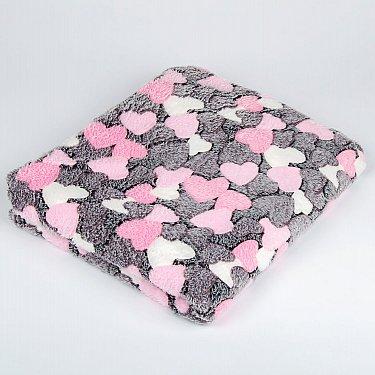 Плед Бамбук Сердечки, розовый, 180*200 см