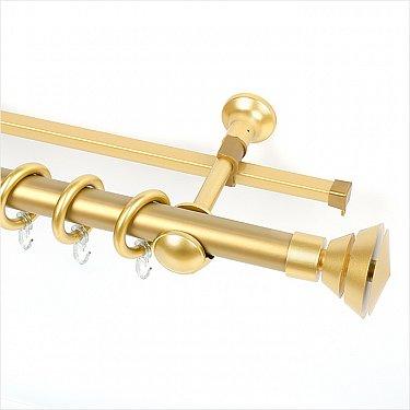 """Карниз металлический с элементами из металлизированной пластмассы """"Гоа"""", 2-рядный, золото матовое, ø28 мм"""