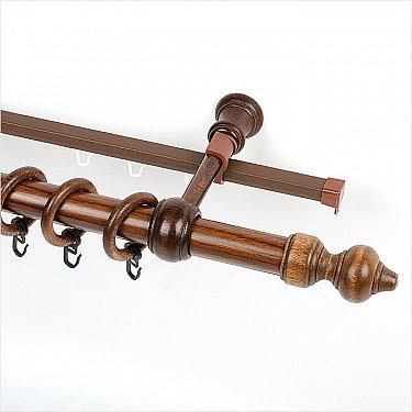 """Карниз металлический с элементами из дерева """"Стандарт"""", 2-рядный, орех, ø28 мм"""