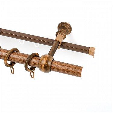 Карниз металлический с элементами из дерева, 2-рядный, дуб рустикал, ø28 мм