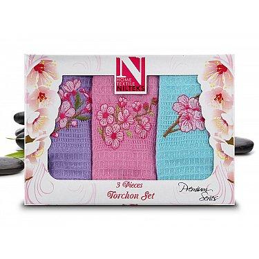 Набор кухонных полотенец Nilteks Dia Bella Italiano в коробке, 50*70 см - 3 шт, сиреневый, розовый, голубой