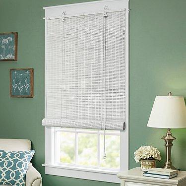 Бамбуковая рулонная штора, белый