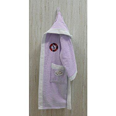 Детский банный халат Volenka Юнга на 10-12 лет, светло-сиреневый-A