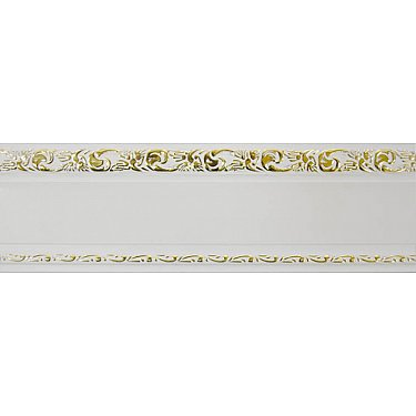 """Карниз потолочный пластиковый без поворота """"Гранд"""", 2 ряда, белое золото"""