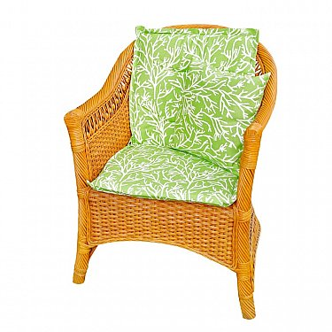 "Подушка на стул со спинкой ""Green Corals"", дизайн 100"