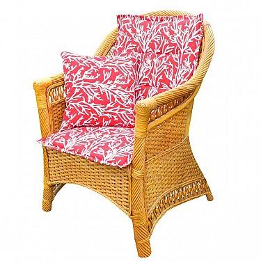 "Подушка на стул со спинкой ""Red Corals"", дизайн 100"