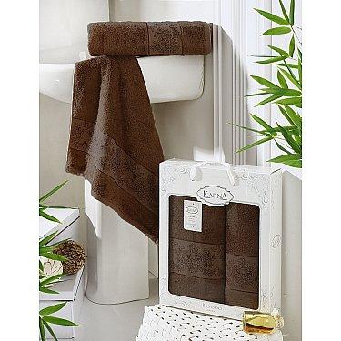 """Комплект полотенец бамбук """"KARNA PANDORA"""" (50*90; 70*140), темно-коричневый"""