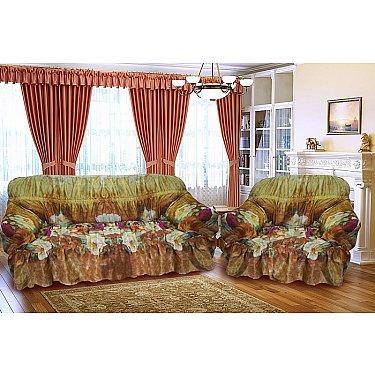 """Набор чехлов для 3-х местного дивана и кресел """"Уютный дом"""", коричневый"""