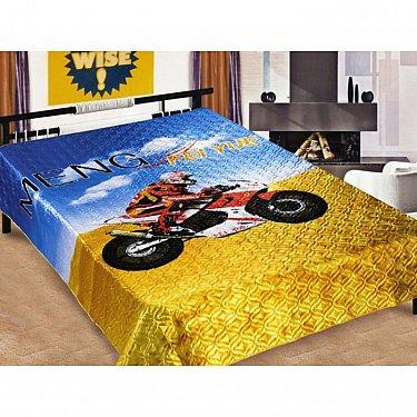 """Покрывало шелк 3D """"Дакар"""", голубой, желтый, 160*220 см"""
