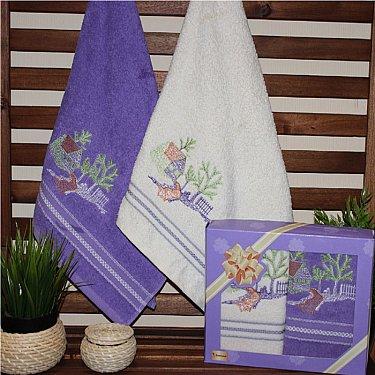 Комплект махровых полотенец Гардения Мини в коробке, фиолетовый, белый, 50*90 см - 2 шт