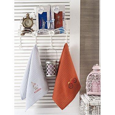 Комплект вафельных салфеток Meteor Paris в коробке, синий, оранжевый, 40*60 см - 2 шт