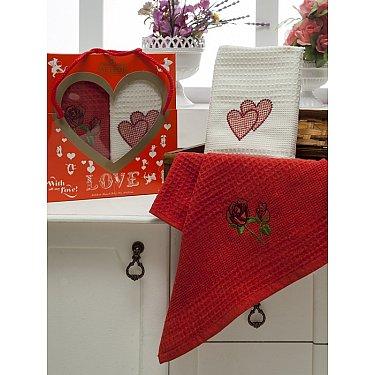 Комплект вафельных салфеток Meteor Сердца в коробке, красный, белый, 40*60 см - 2 шт