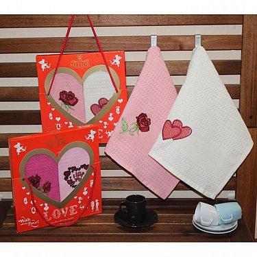 Комплект вафельных салфеток Meteor Сердца в коробке, розовый, белый, 40*60 см - 2 шт