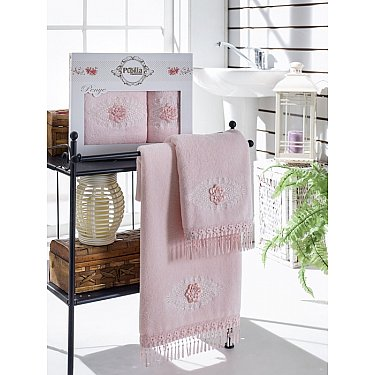 Комплект полотенец Бамбук с гипюром Stil в коробке (50*90; 70*140), розовый