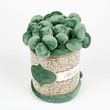 Плед с помпонами, зеленый, 200*220 см