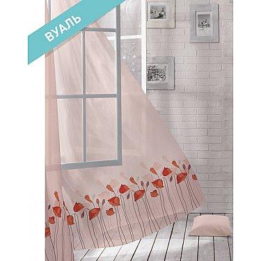 Комплект штор ЛОФТ Вуаль Poppy, розовый, красный, 270 см