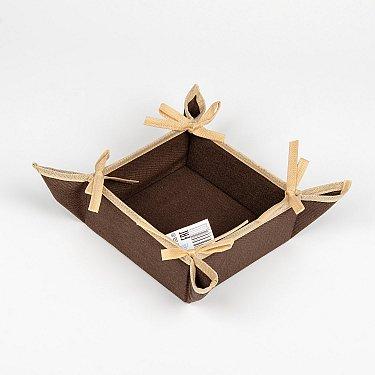 "Декоративная корзинка-салфетка ""Анита"" - 4, темно-коричневый, 27*27 см"